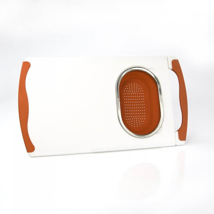 ... Good Cooking Over Sink Cutting Board With Collapsible Colander From  Camerons Products ...