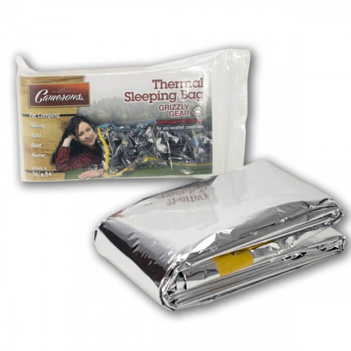 Grizzly Gear Emergency Survival Mylar Thermal Sleeping Bag (2 Pack) - 84″ X 36″ from Camerons Products