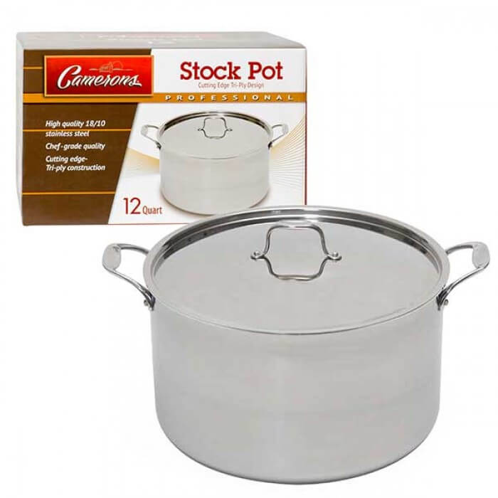 Professional Grade Stainless Steel Stock Pot with Stay Cool Handles - 12 Quarts from Camerons Products