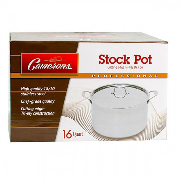 Stock Pot - Tri-ply 18/10 Professional Grade Induction Ready with Stainless Steel Lid and Stay Cool Handles (16 Quarts) from Camerons Products