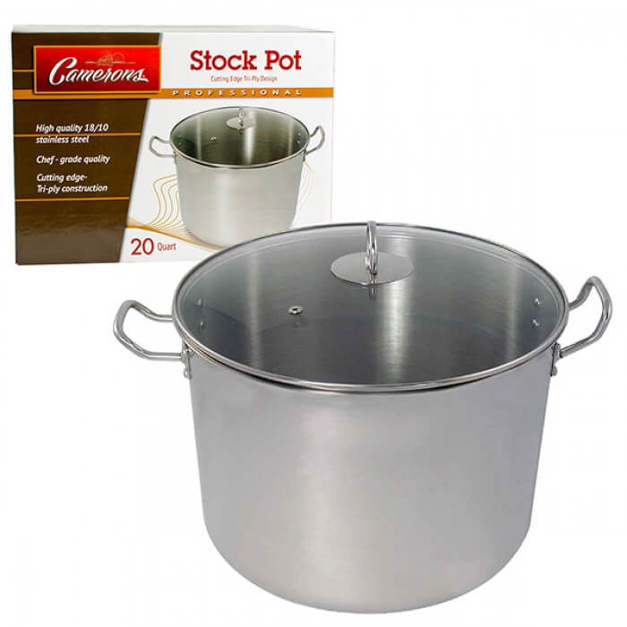 Professional Grade Stainless Steel Stock Pot with Stay Cool Handles - 20 quarts from Camerons Products
