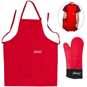 Budweiser Grilling Apron and Extra Long Silicone Mitt from Camerons