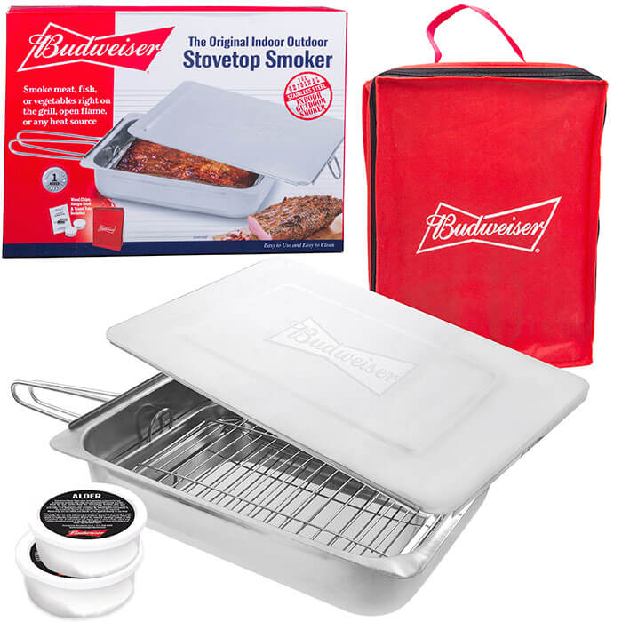 Budweiser Original Indoor Outdoor Stovetop Smoker from Camerons Products